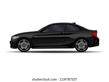 small black car. side view.