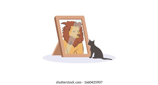 Small black cat looking herself at mirror as huge fierce lion vector graphic illustration. Domestic cartoon kitty animal pretends to be wild beast with big maned isolated on white background