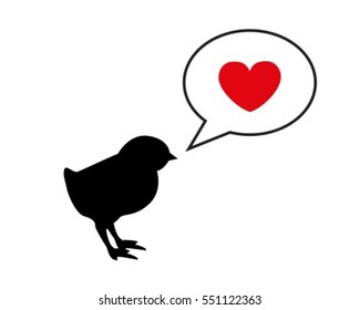 small black silhouette chick calling mom. Dialogue bubble and heart