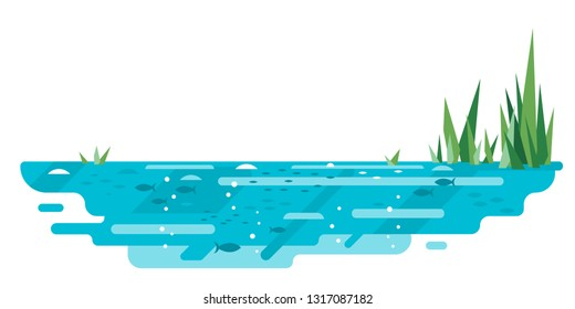 Small blue decorative pond with bulrush plants and fishes in flat style isolated on white, lake in section nature landscape fishing place