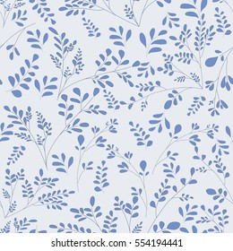 Small blue flowers on a blue-gray background. Simple floral ornament Vector seamless pattern Shabby Chic