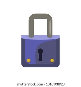 Small blue padlock. Keyhole, metallic, door. Can be used for topics like safety, security, access