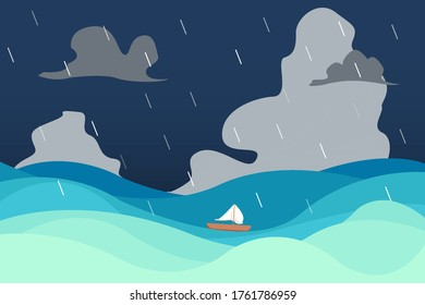 A small boat floated in the open sea on the waves. The background is gray clouds and rainstorms. Cartoon style. vector illustration.
