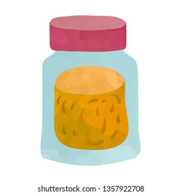 Small bottle with spice. Cartoon clip art illustration on white background. Watercolour imitation.