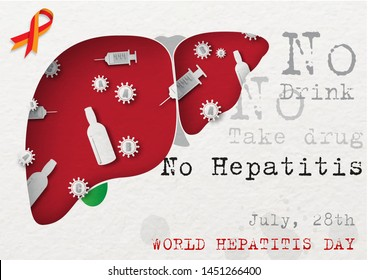 """Small Bottle and syringes with hepatitis virus in human livers with slogan and the days with name letters of """"World Hepatitis Day"""" campaign. All in paper cut style and vector design."""