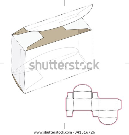 Small Box Die Cut Template Stock Vector Royalty Free 341516726