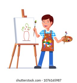 Small boy arts student kid painting flowers picture sketch on canvas standing on easel holding paintbrush and palette with paints. Flat style vector illustration isolated on white