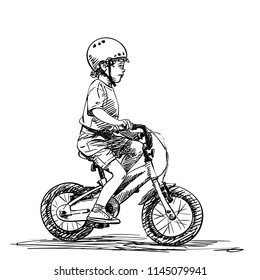 Small boy in helmet riding bicycle, Vector sketch, Hand drawn illustration isolated on white