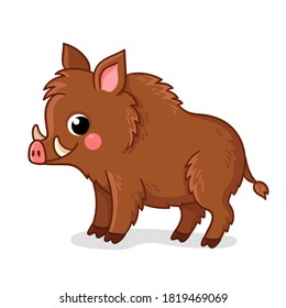 Small brown boar stands on a white background. Vector illustration with cute forest animals in cartoon style.