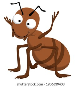 Small brown funny cute ant with big eyes and smile
