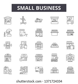 Small business line icons, signs set, vector. Small business outline concept, illustration: business,small,building,shop,market,commercial,store