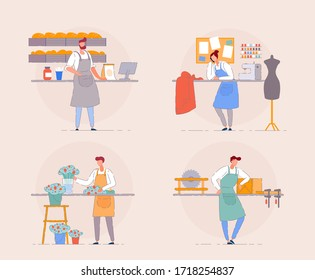 Small business owner. Cartoon portrait of business owner on workplace. Florist in flower shop, baker in a small bakehouse, carpenter and textile shop owner. Entrepreneur small business start open work