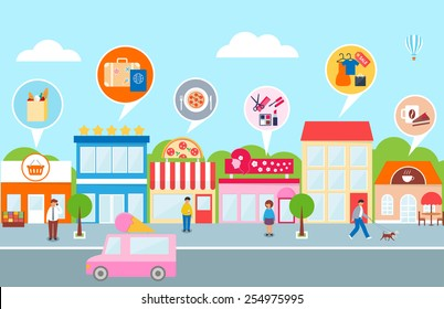 Small business, vector illustration of a town - hotel, cafe, pizza, shop, market, beauty salon