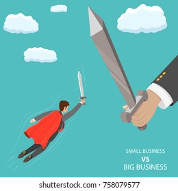 Small business VS big flat isometric vector concept. A businessman that looks like a superhero is flying with sword in his hand to fight with huge hand with big sword.
