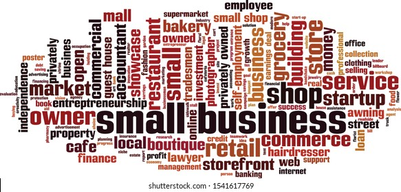 Small business word cloud concept. Collage made of words about small business. Vector illustration