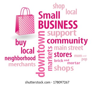 Small Business word cloud in support of local neighborhood community stores, with shopping bag illustration in hot pink with polka dots. EPS8 compatible.