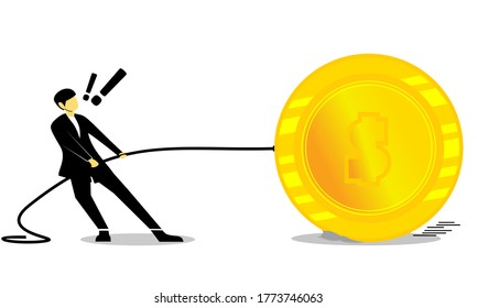 Small businessman pulling of big golden coins. Man character pulling rope with coin, scene of earning money, cash with dollars. Worker with currency. Profit and advantage. Illustration vector