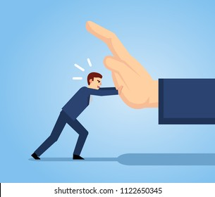 Small businessman pushing big hand. Small man fights against strong opponent, business obstacles. Simple style vector illustration