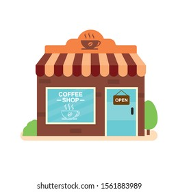 Small cafe vector illustration with flat design isolated on white background