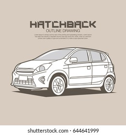 Small car clean outline drawing vector illustration