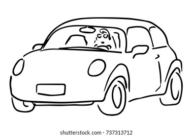 Car Back Side View Black White Stock Vector Royalty Free 737077879