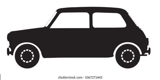 A small car silhouette isolated on a white background