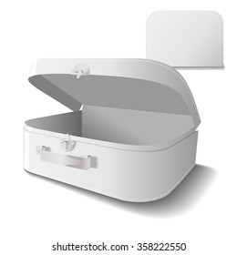 Small cardboard suitcase template with handle in white.