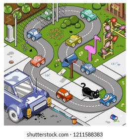 Small cars driving on miniature road on a front garden and sidewalk through a fence (isometric cartoon)
