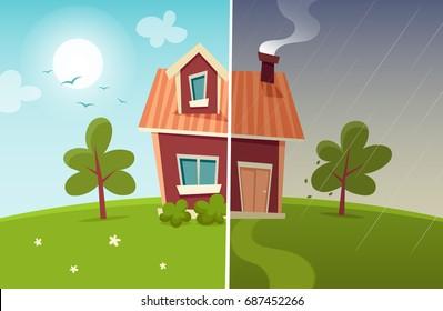 Small Cartoon House: Sunny and Rainy Weather. Vector Illustration