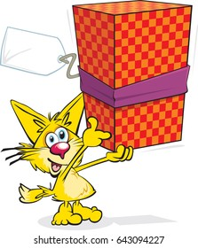 Small Cat With Present A cute cartoon cat holding a gift, label blank so you can add your own text