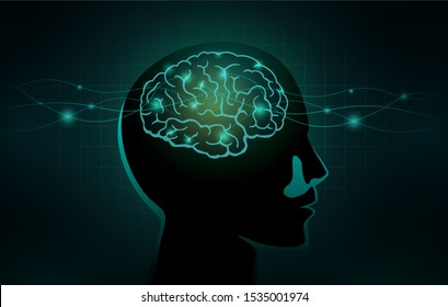 Small cells and wave line move into the Human brain. Concept Illustration about work of nervous system and brain networks.