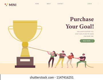Small characters who work together to achieve the goal towards the trophy. web template style. flat design style vector graphic illustration set