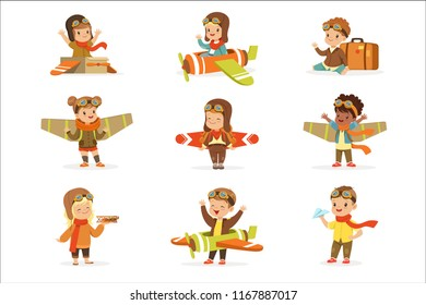 Small Children In Pilot Costumes Dreaming Of Piloting The Plane, Playing With Toys Adorable Cartoon Characters