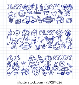 Small children play Nursery Preschool School Kids drawing doodle icons Pattern background Play, study learn with happy boys and girls Let's explore space Time to adventure