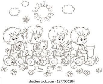 Small children playing on a toy train on a playground in a park, black and white vector illustration in a cartoon style for a coloring book