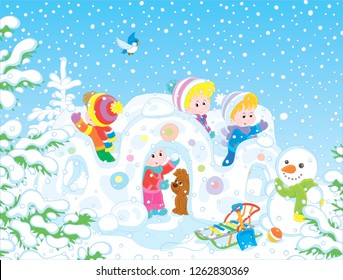 Small children playing in their toy snow fortress on a playground in a winter snow-covered park, vector illustration in a cartoon style