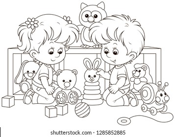 Small children playing with toys in a nursery, black and white vector illustration in a cartoon style for a coloring book