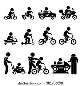 Small Children Riding Toy Vehicles and Bicycle Stick Figure Pictogram Icons