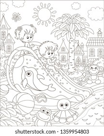 Small children sliding down from a waterslide in a summer aquapark, black and white vector illustration in a cartoon style for a coloring book