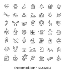 Small christmas icons set including, santa claus, forest reindeer, snowflakes and presents, stars and candles, wreath on vector in black and white