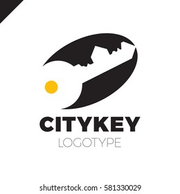 Small city Logo of the builder, house key isolated. Silhouette of the city's architecture. Vector illustration.