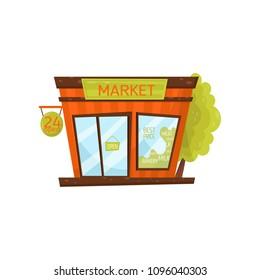 Small city market. Exterior of grocery store. Facade of public building with singboard, big glass door and window. Cartoon vector icon