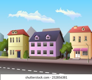 Small city street with road