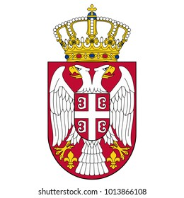 Small coat of arms of Serbia. Silver double-headed eagle on a red shield topped with a crown. Symbol isolated on white background. Serbia flag and coat of arms. Sign vector illustration