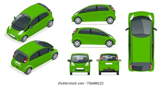 Small Compact Electric vehicle or hybrid car. Eco-friendly hi-tech auto. Easy color change. Template vector isolated on white View front, rear, side, top and isometric