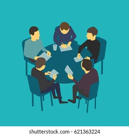Small company table talks. Team business people meeting conference