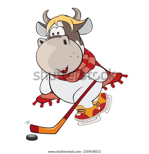 A small cow. A hockey player. Cartoon