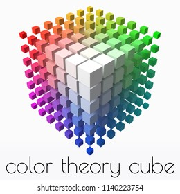 small cubes makes color gradient in shape of big cube. smaller cubes on corners. color theory concept. 3d style vector illustration. suitable for any banner, ad, technology and abstract themes.