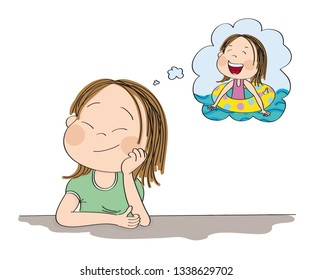Small cute girl daydreaming, imagining herself in the summer, swimming in the pool, smiling happily. Original hand drawn illustration.