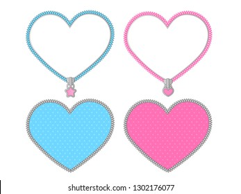 Small cute heart on transparent background. Vector set of graphic elements for LOL doll surprise party style. Valentine's day card. Zipper frame and little star lock. Pink, blue, silver grey stickers